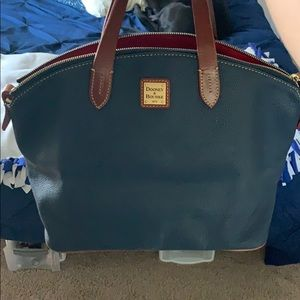 Navy Blue and Brown Purse